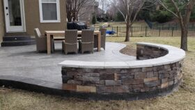 Slate Stamped Concrete Pad-grey with nutmeg